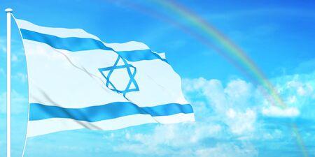 Israel flag on beautiful sky background photo