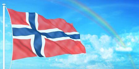 norway flag: Norway flag on beautiful sky background