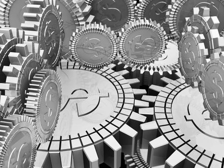 Silver money gears Stock Photo - 6951360