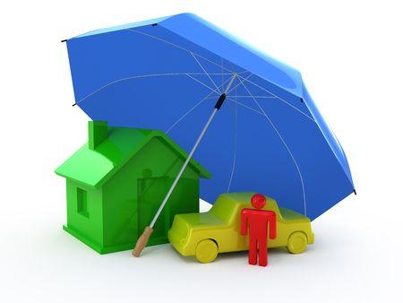 Hogar seguro de auto de seguros, seguros de vida,  Foto de archivo