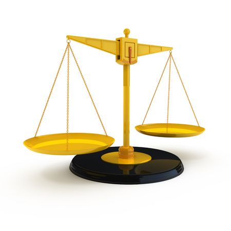 weigher: Isolated golden scales Stock Photo