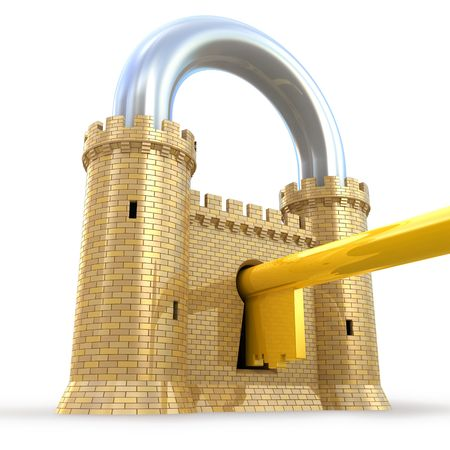 stronghold: Mighty fortress as a padlock Stock Photo