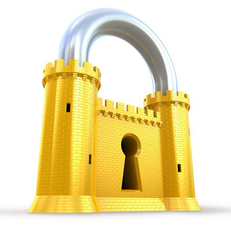 Mighty fortress as a padlock Stock Photo - 8037409