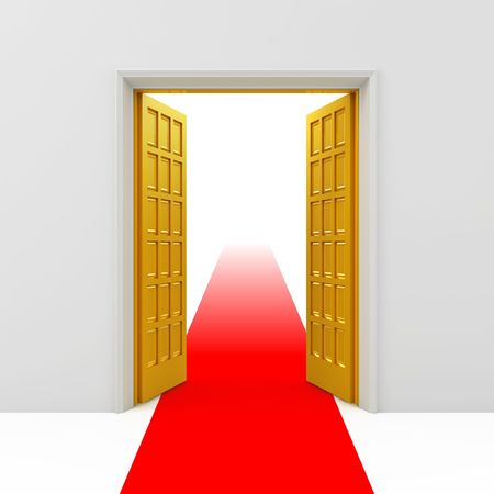 entrance door: Golden opened doors Stock Photo
