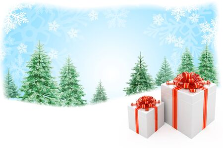 Christmas nature background with gift boxes Stock Photo - 8393449