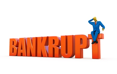 Bankrupt concept isolated on white photo
