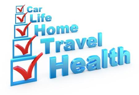 Lista de comprobación de seguro de salud, seguros de viajes, seguros en casa, seguro de vida, seguros de coche