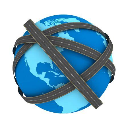 Stra�en auf der Erde, isoliert auf weiss. Globalen Transport-Konzept