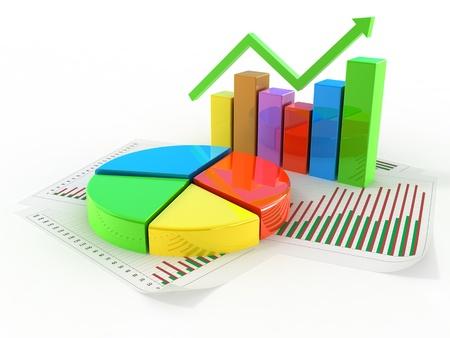 Concepto gráfico de sectores aislado en blanco Foto de archivo
