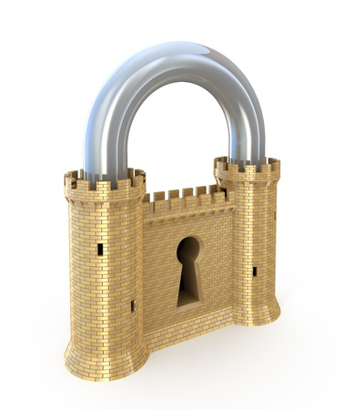 Security concept. Padlock as fortress isolated on white photo
