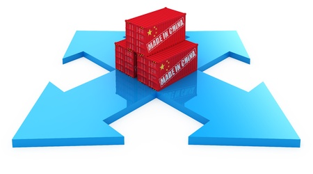 Fast delivery cargo containers from China. 3d concept isolated on white photo