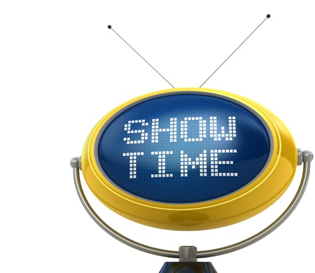 show time: Show time concept isolated on white