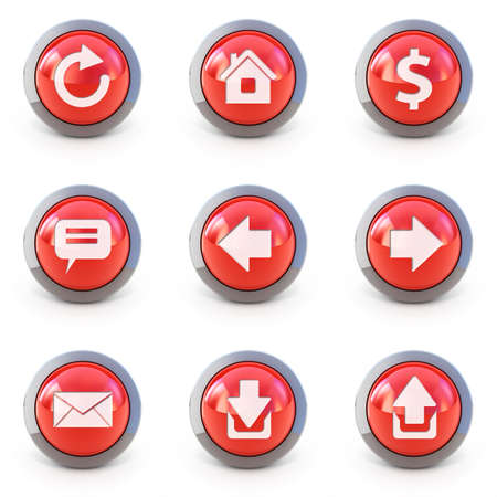 High detailed Set of web interface 3d buttons isolated on white photo