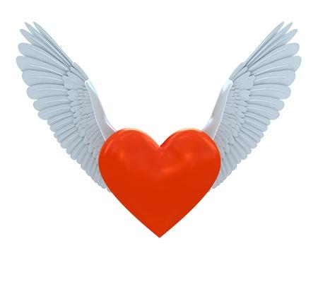 Símbolo de corazón rojo con alas aislados en blanco