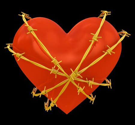 love hurts: Heart shape wrapped with golden barbed wire isolated on black