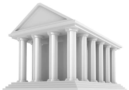 Ancient Financial building isolated on white photo