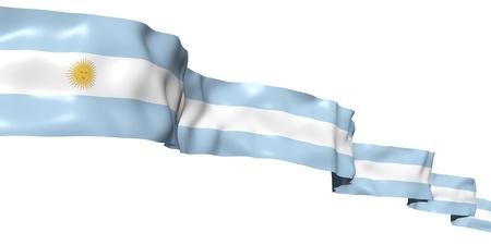 Bandera Argentina listón alto en el cielo. Ilustración de concepto 3D