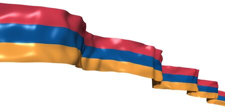 Armenian ribbon flag isolated on white photo