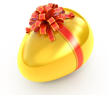 3d chicken: Easter surprise - golden egg with ribbon isolated on white