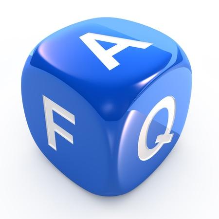 FAQ dice isolated on white Foto de archivo