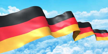 Germany flag ribbon high in the sky. 3d concept illustration illustration