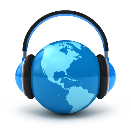 dj headphones: Earth with headphones. World music concept isolated on white