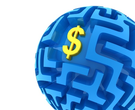 money sphere: Dollar puzzle. Money Sphere Maze Stock Photo