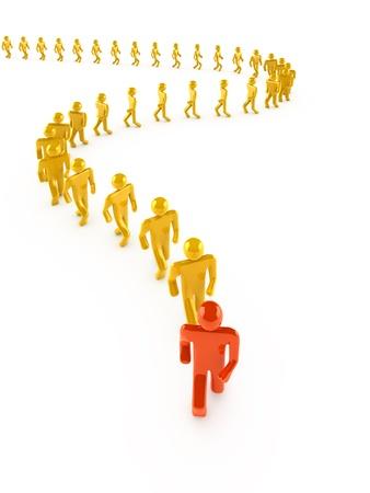 Leader en marche avant blanc isolée sur