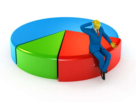 Businessmen sitting on small proportion of the pie chart photo
