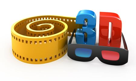 3d movie concept isolated on white Stock Photo - 9006612