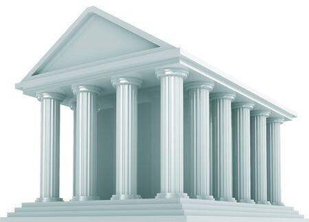 derecho romano: Antiguo edificio financiero aislado en blanco