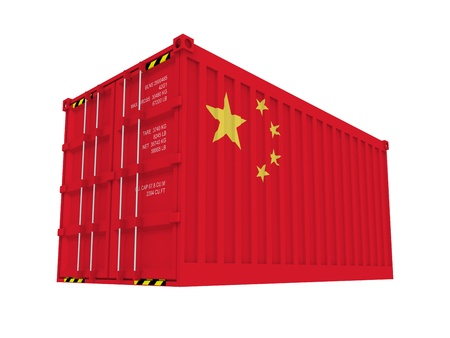 made in china: Chinese cargo container isolated on white Stock Photo