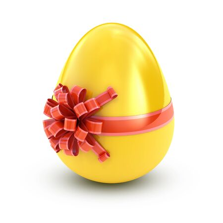 Easter surprise - golden egg with ribbon isolated on white photo