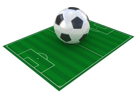 Football field and soccer ball isolated on white photo
