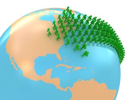 Migration zu USA Konzept isoliert auf weiss