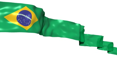 brazil symbol: Brazil ribbon flag isolated on white Stock Photo