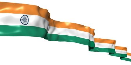 drapeau inde: Drapeau de ruban Inde isol� sur fond blanc Banque d'images