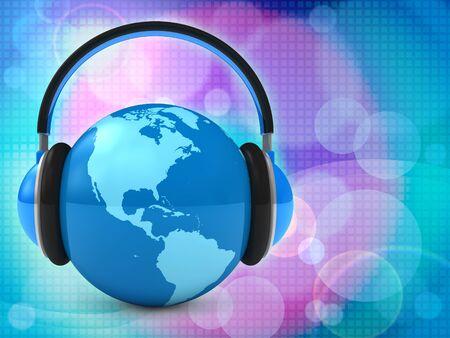 auriculares dj: M�sica del mundo. Fondo abstracto Foto de archivo