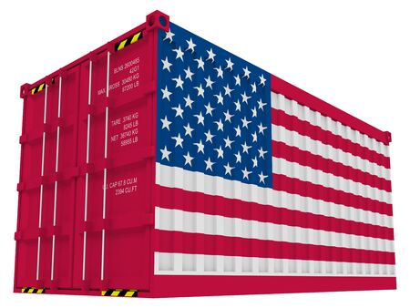 American cargo container isolated on white photo