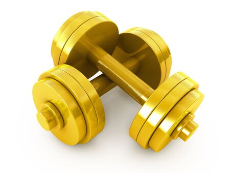 Golden fitness exercise equipment dumbbells weight isolated on white photo