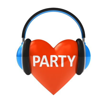 I love party concept isolated on white photo