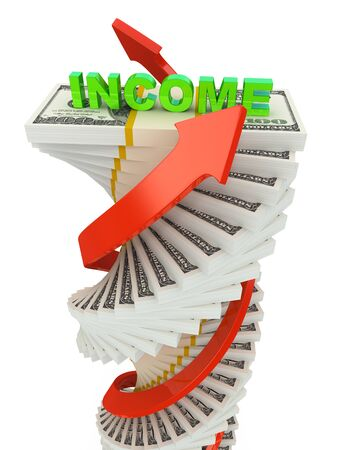 Income growth concept. Spiral dollar stack with arrows isolated on white photo