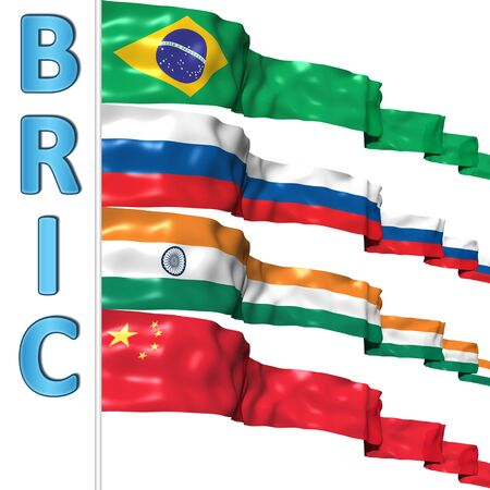 developing country: BRIC countries flags Stock Photo