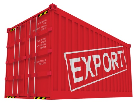 import and export business: Export cargo container isolated on white