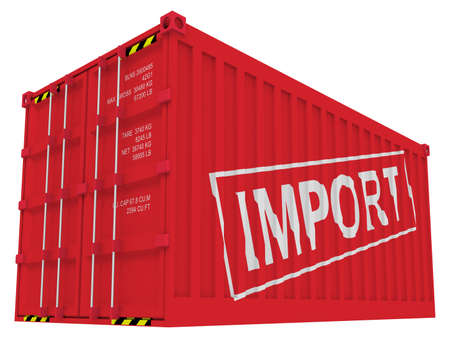 Import cargo container isolated on white Stock Photo - 9052622