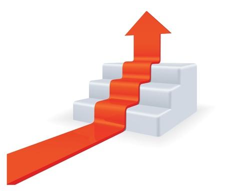 Flèche à l'étage. Concept de croissance. Haute détaillée 3d