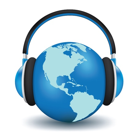 music listening: Earth with headphones. World music concept high detailed 3d vector Illustration