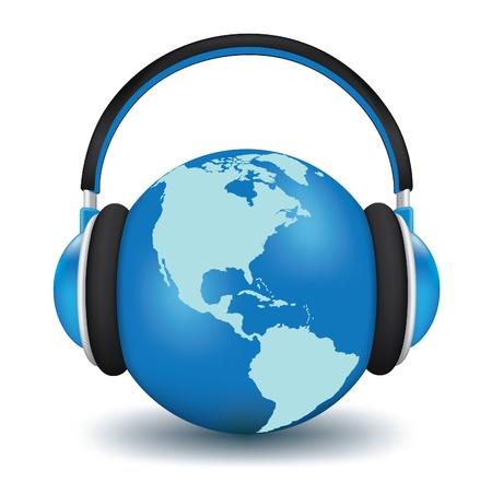 Erde mit Kopfh�rern. World Music Konzept hoch detaillierte 3d vector