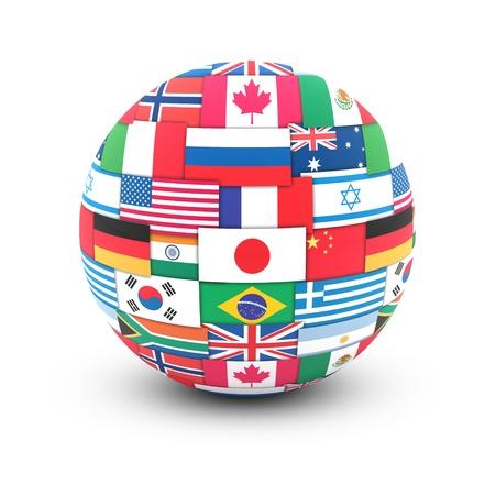 Concepto de comunicación internacional. Banderas del mundo en globo