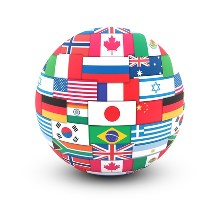 world group: International communication concept. World flags on globe